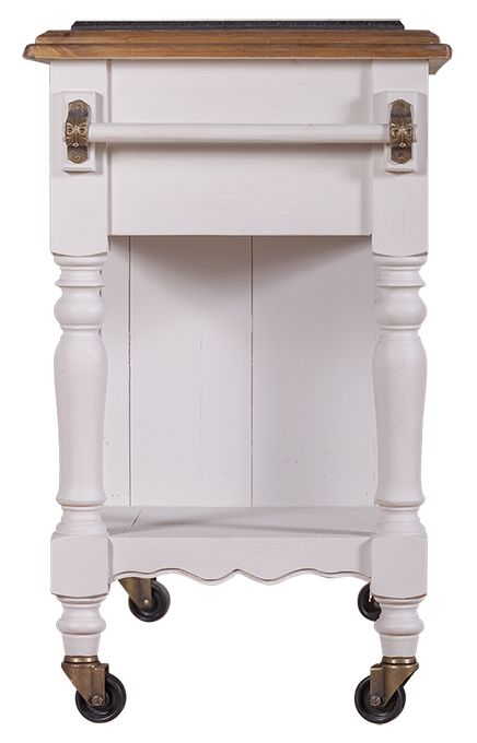 Hampton Kitchen Island Bench in Distressed White with Honey Top - Bay Gallery Furniture Store
