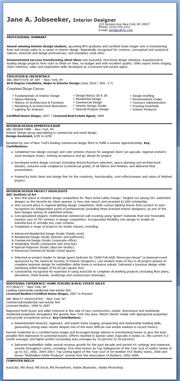Design Assistant Sample Resume Interior Design Resume Examples  Creative Resume Design Templates .