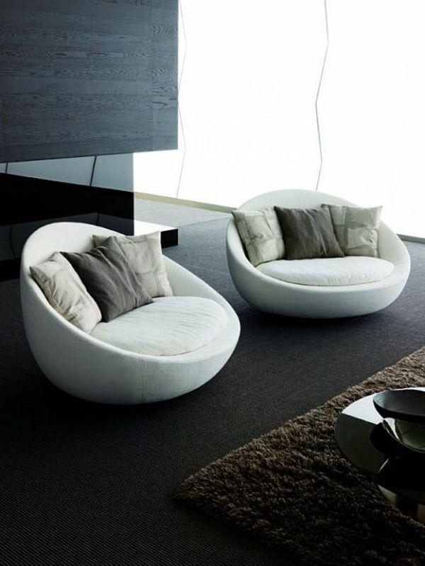 Rund Wohnzimmer Möbel Modern Trendy Sessel Weiß