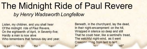 The Midnight Ride of Paul Revere by Henry Wadsworth Longfellow: http ...