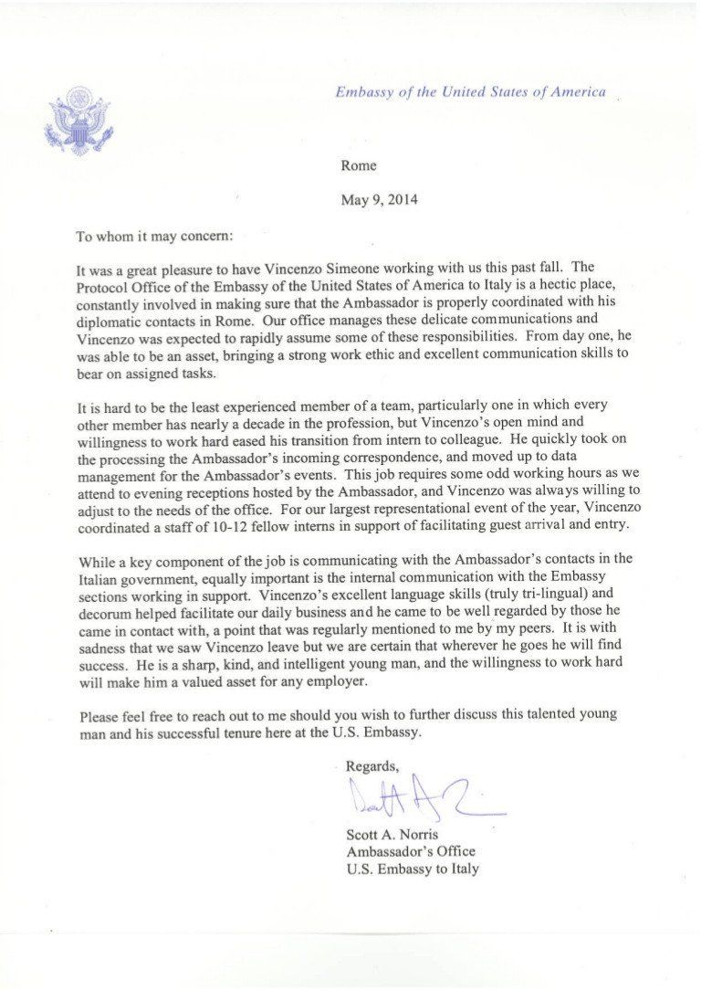 Immigration Letter Of Reference Letter U S