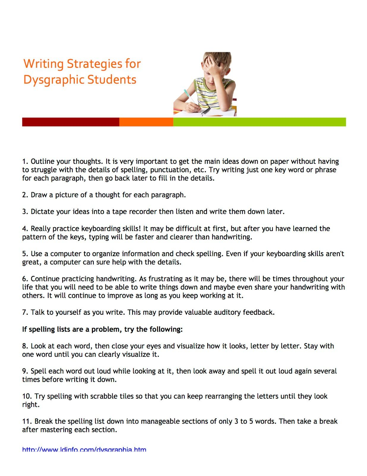 Exceptional Children Resources Dysgraphia Writing