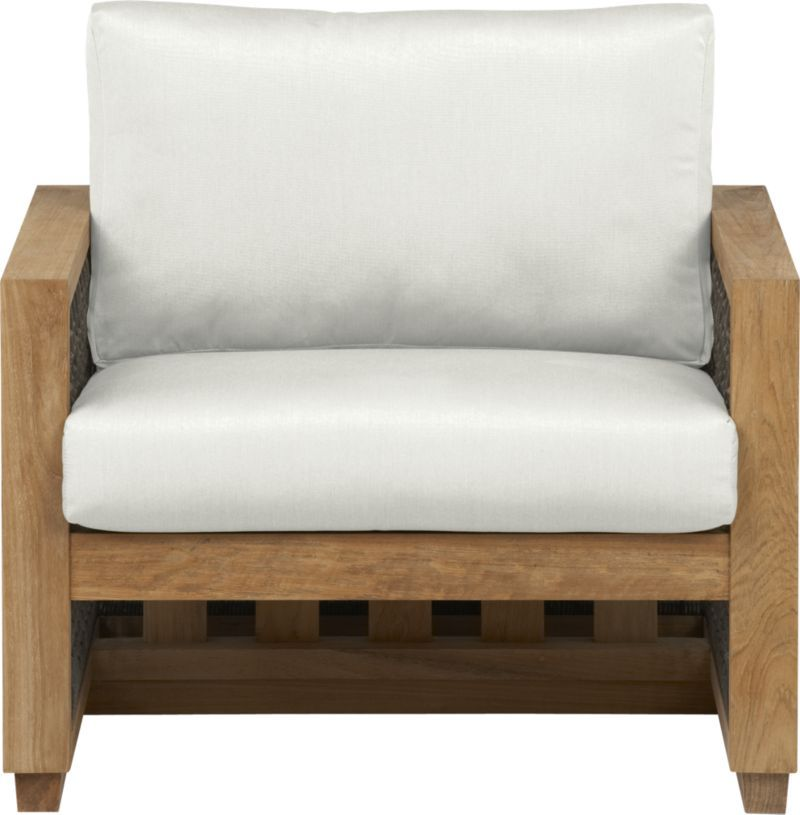 Canyon Lounge Chair With Sunbrella White Sand Cushion Crate And