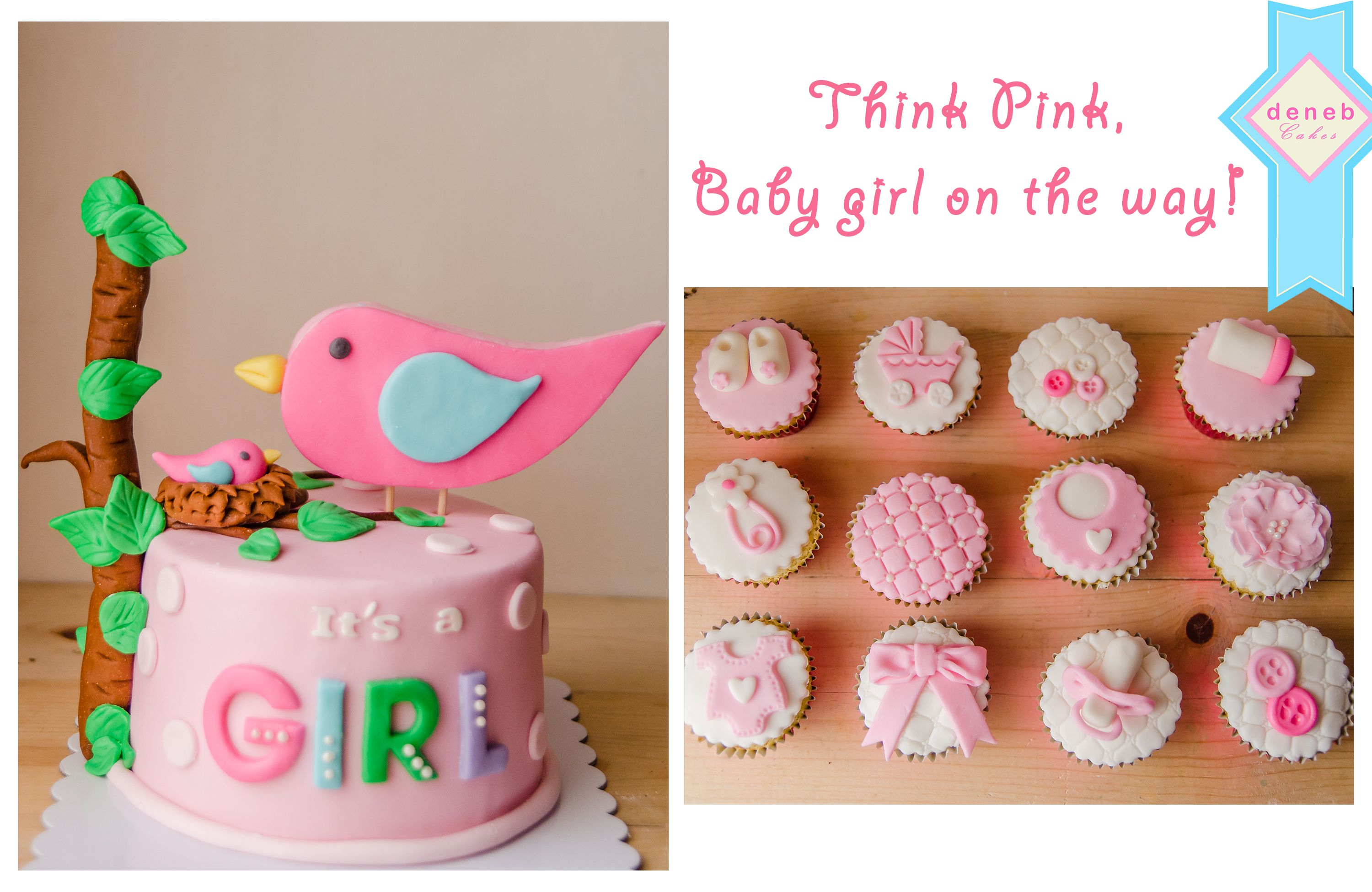 Girl Baby Shower Cake And Cupcakes
