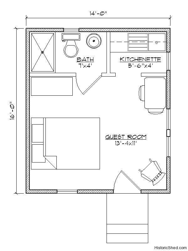 14 X16 Studio Cottage 224 Sf Tiny Guest House Tiny House Floor Plans House Floor Plans