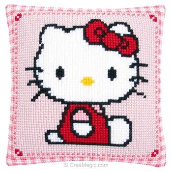 Coussin Vervaco Au Point De Croix Hello Kitty Assise Point De Croix Minou Broderie Point De Croix
