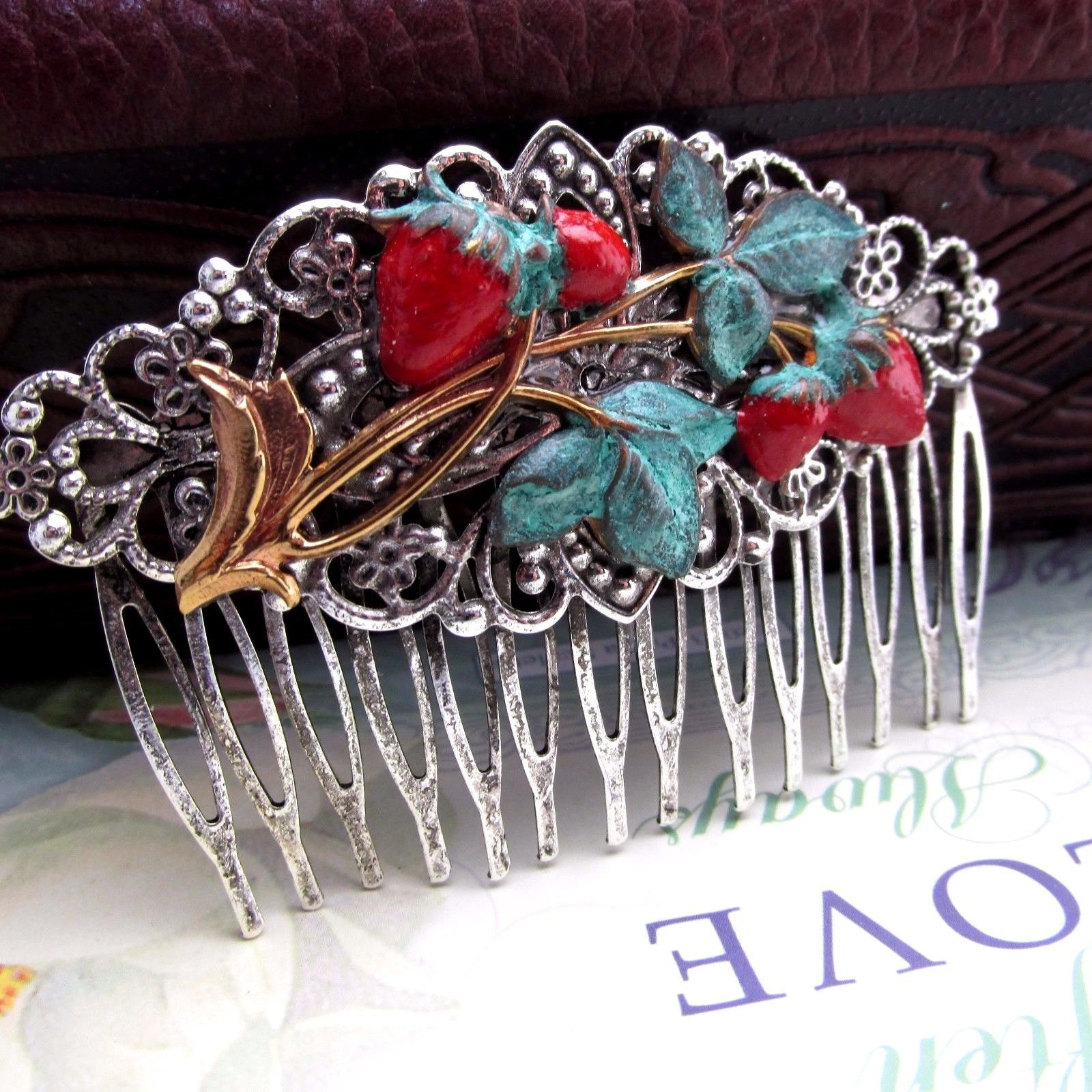 details about strawberry hair comb decorative combs silver over