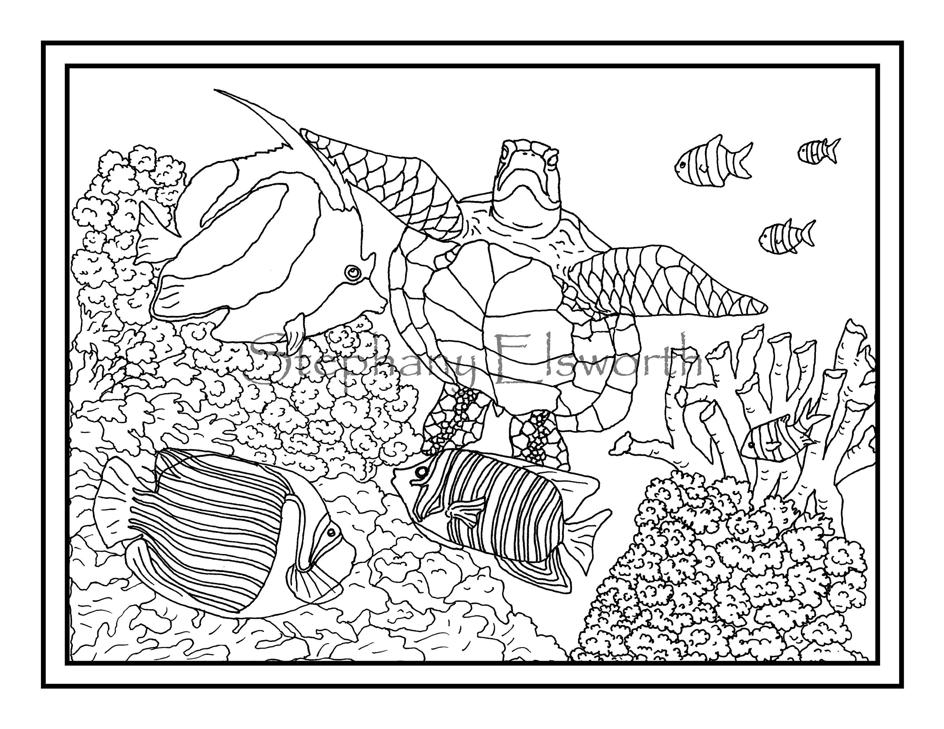 Fish Sea Turtles And Coral Reef Three Pdf Printable Instant Download Coloring Pages