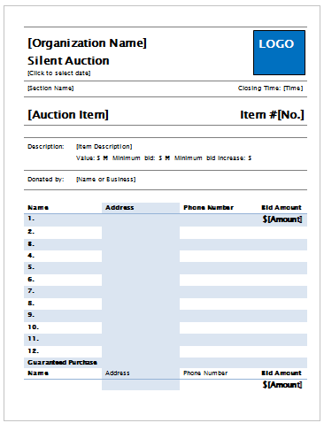 microsoft template silent auction bid sheet silent auction bid