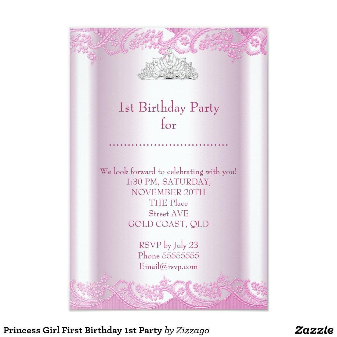 Princess Girl First Birthday 1st Party Invitation | First birthday ...