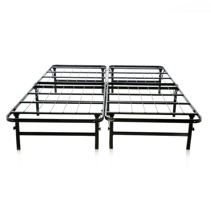 Queen Foldable Mobile Bed Frame, Bed Frame Box Spring Queen Folding Metal Mattress Foundation