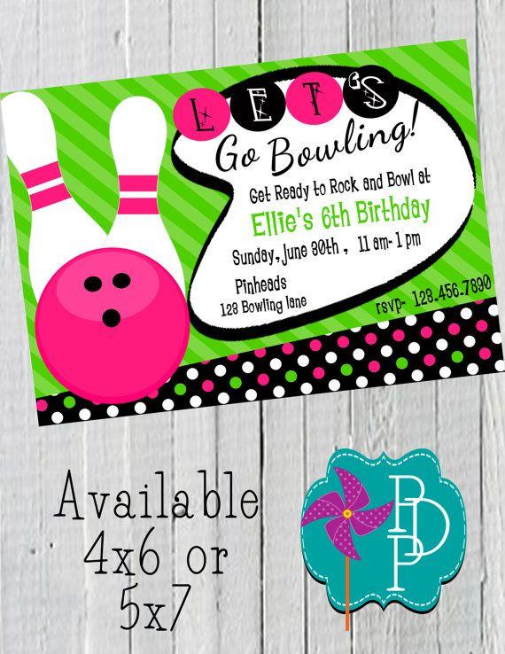 retro bowling girl birthday invitation printable 4x6 or 5x7 on etsy