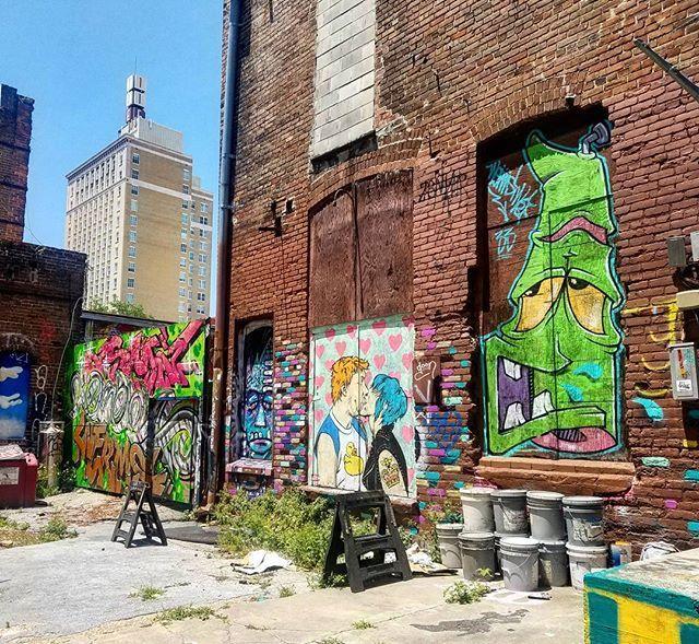 Graffiti In An Alley In Downtown Jacksonville Streetart Frankenstein Kissycouple Dtjax Graffiti Backalley Downtownjax Ig Street Art Graffiti Instagram