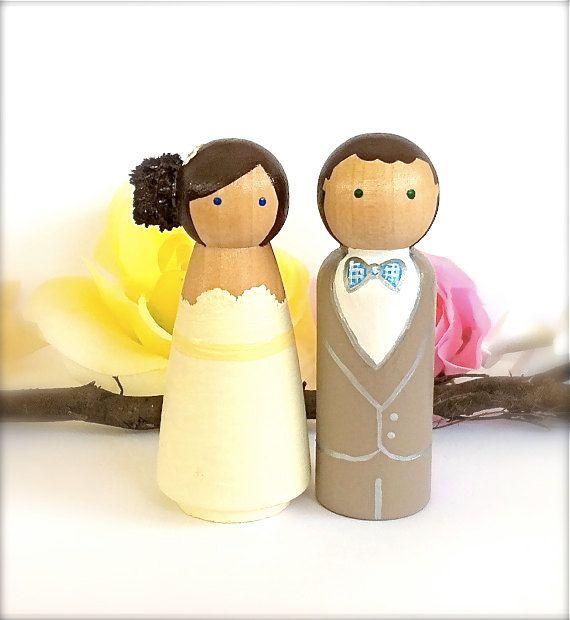 Cute WEDDING CAKE TOPPER, Custom Cake Topper Peg Dolls, Large Wood ...