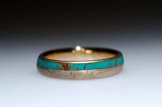 Mokumé Gane Turquoise and Diamond Ring von ChrisTimberlake auf Etsy