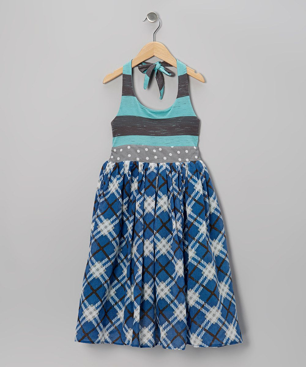 Maggie bogart blue plaid halter maxi dress infant toddler u girls