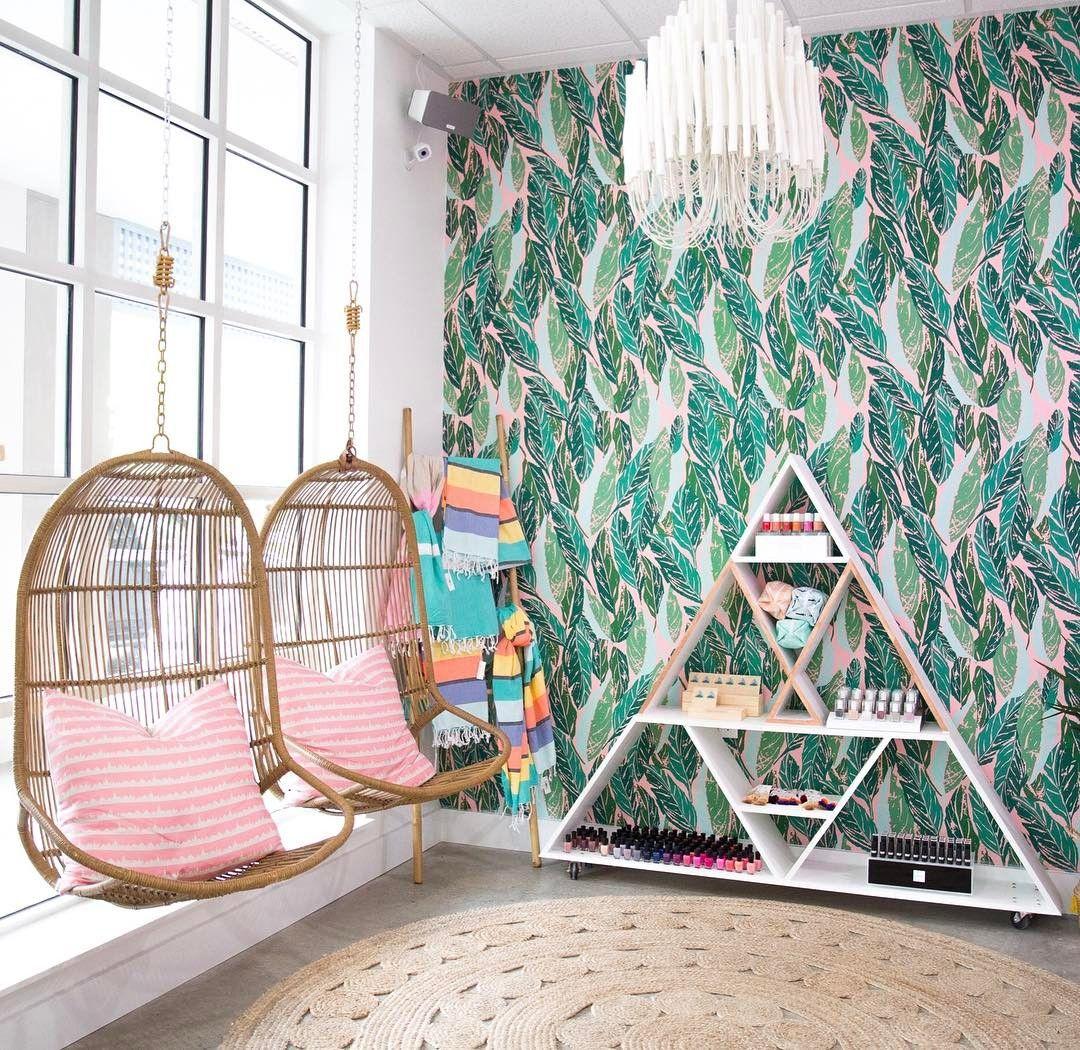 Stunning Pink & Green tropical !nail salon via @mylk.bar ...