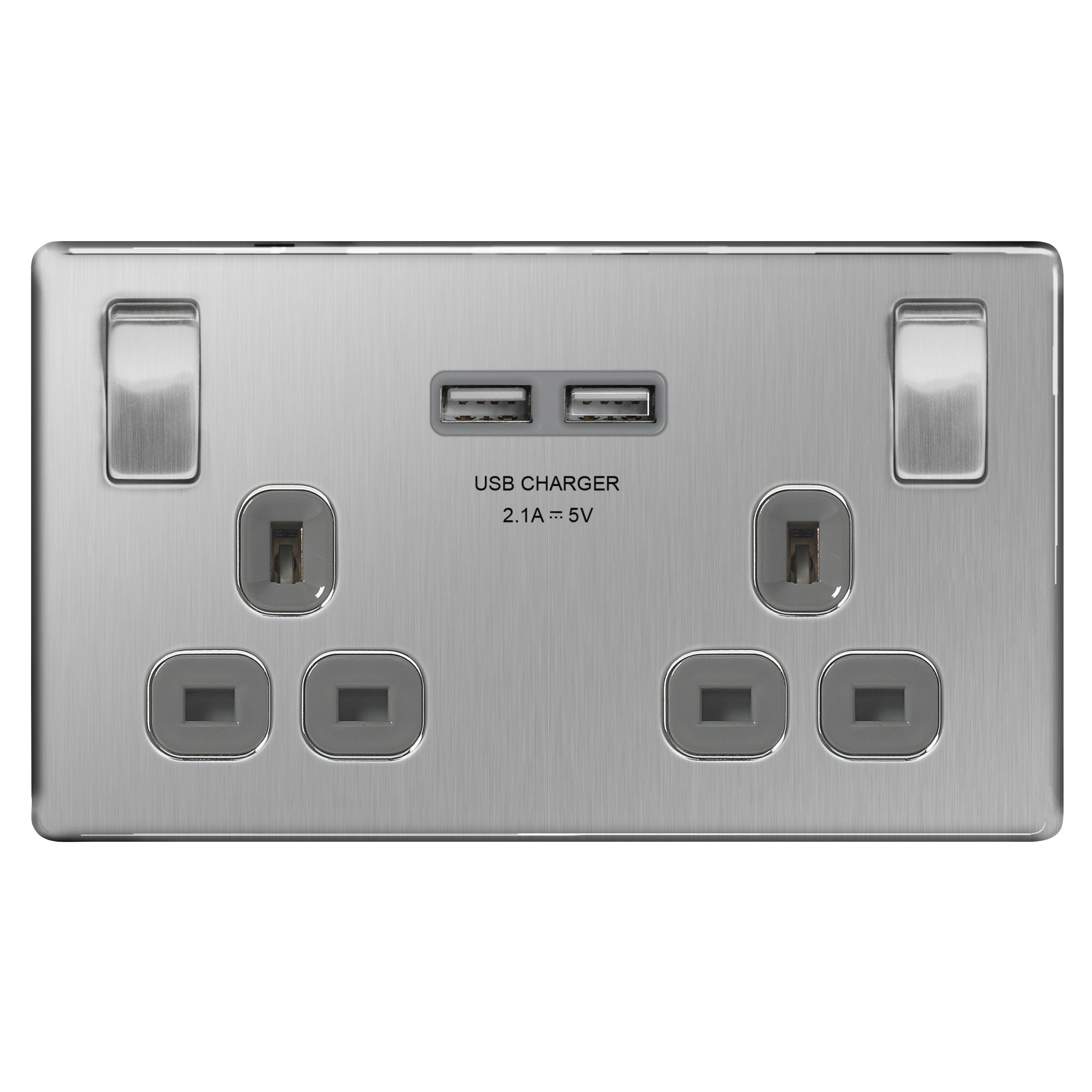 Colours Excellence Screwless Flat Plate Brushed Steel Switched 13a