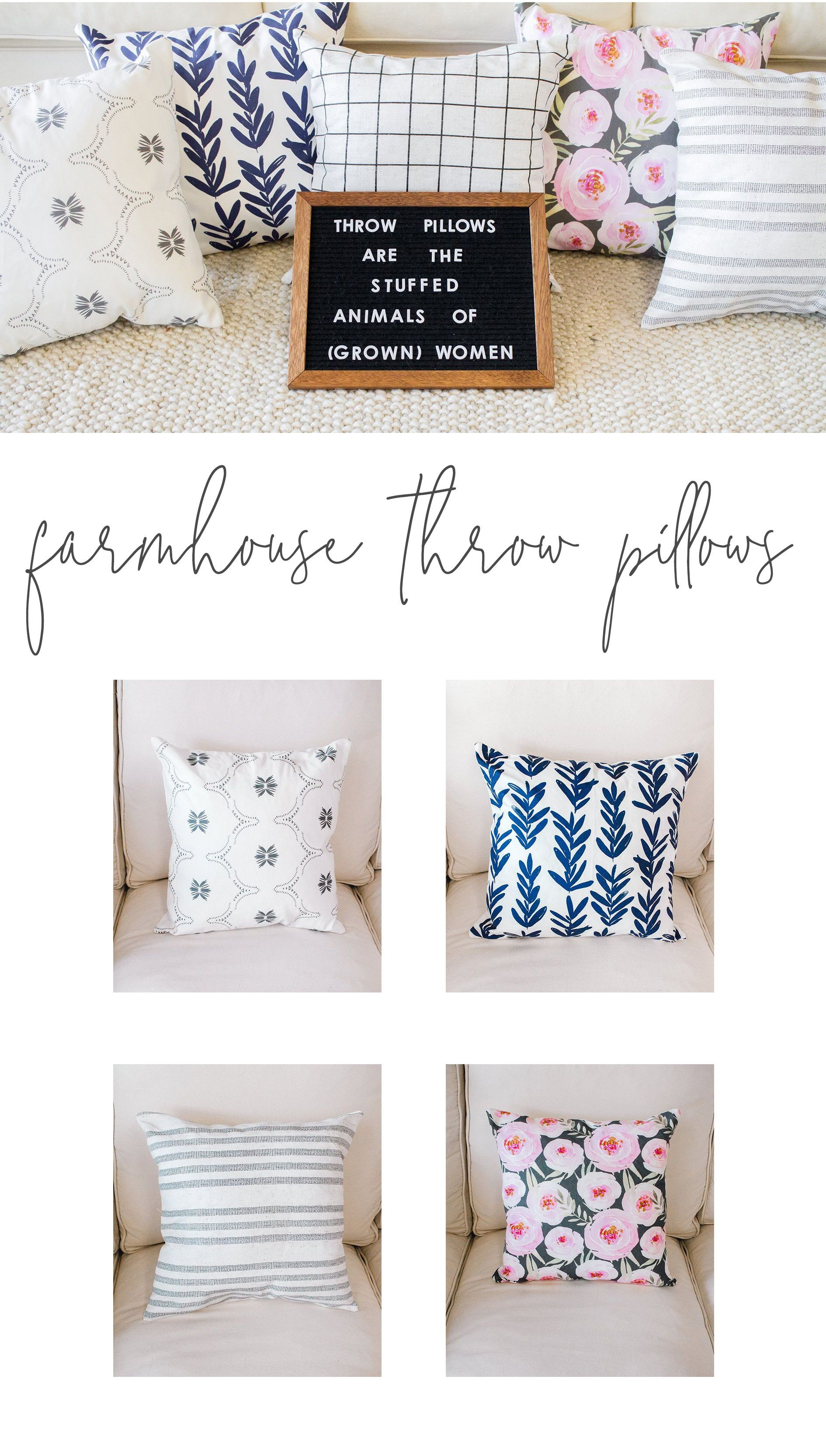 Throw Pillows are the Stuffed Animals of Grown Women! We LOVE throw pillows.  Anyone else  Farmhouse Pillows - Modern Throw Pillows - Floral Pillow ... 9d71f64c1