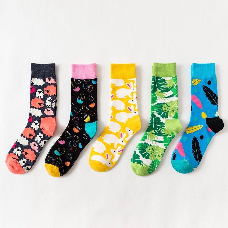 Men Harajuku Food Animal Knee High Socks Creative Sock Funny Casual Long Socks