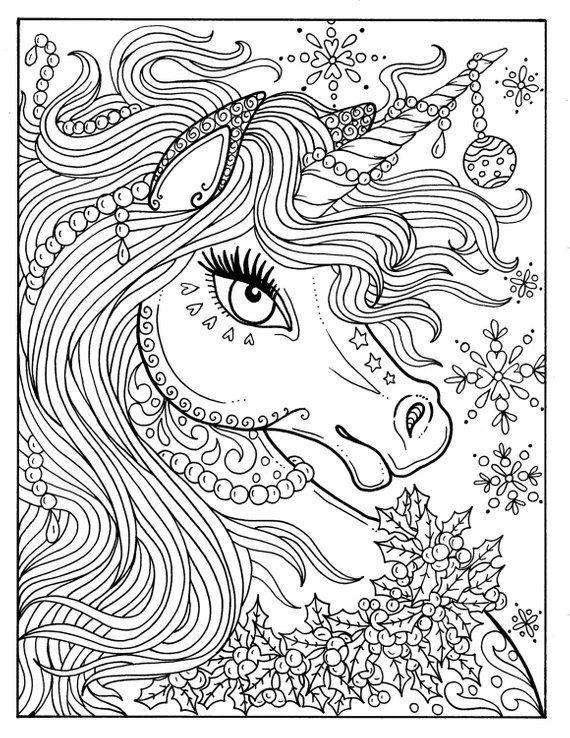 Unicorn Christmas Coloring Page Color Book Art Fantasy Digital