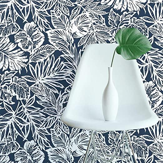 Amazon Com Roommates Black Batik Tropical Leaf Peel And Stick Wallpaper Home Improvement Peel And Stick Wallpaper Peelable Wallpaper Tropical Leaves