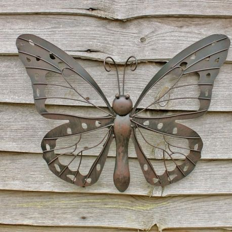 Large decorative metal butterfly garden wall art black brown finish ...