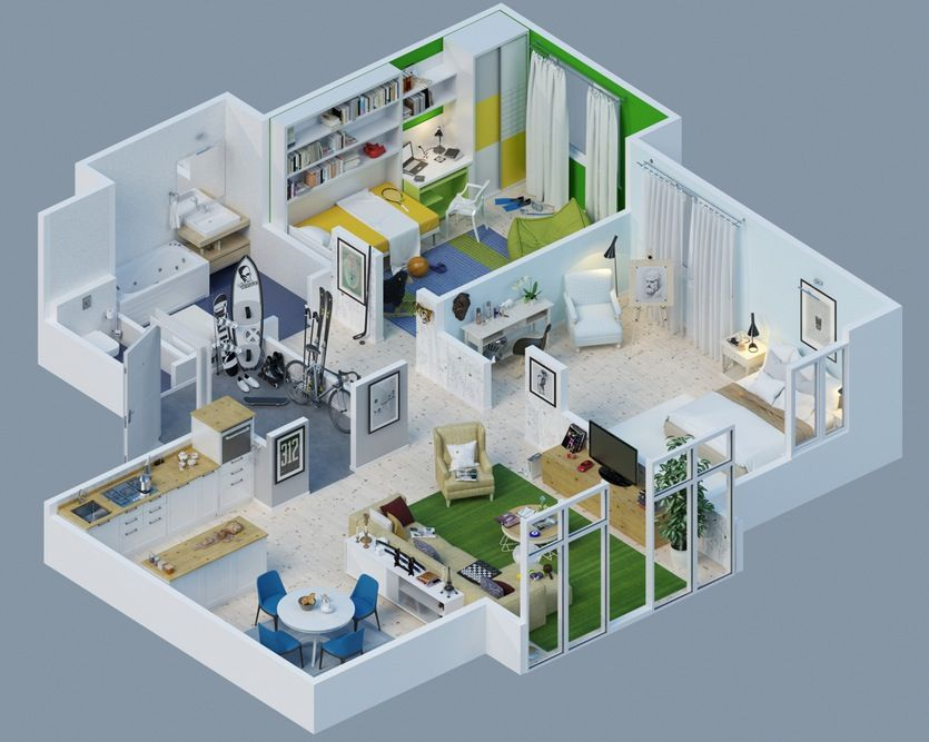 Apartment Designs Shown With Rendered 3D Floor Plans | Apartments ...