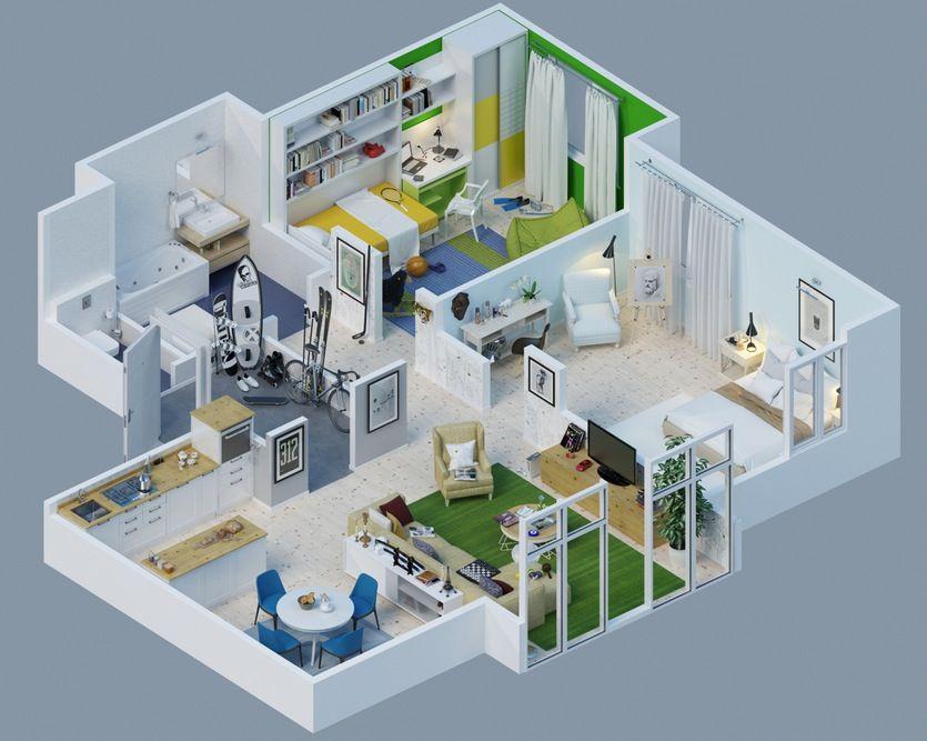 Two Bedroom Sports Apartment 7 Jdmitriy Schuka Denah Rumah 3d Denah Rumah Rumah Minimalis