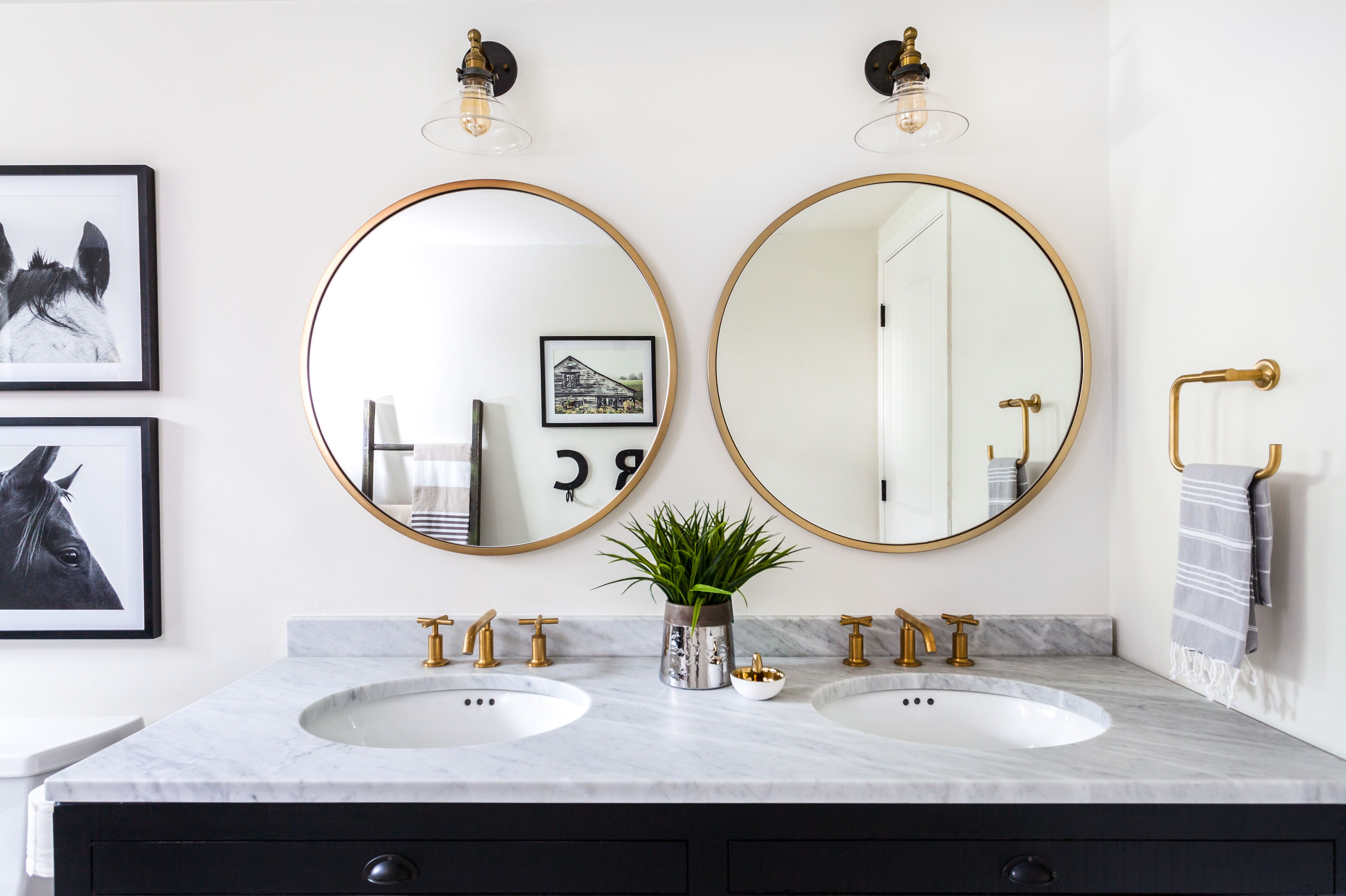 Designer Juxtaposed Interiors Luxury Farmhouse Bathroom Walker