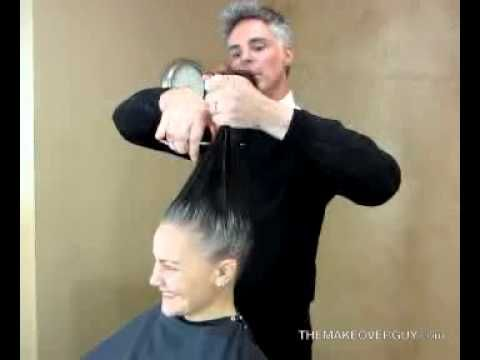 dramatic long hair cut short makeover by christopher over 40 long gray hair makeup makeover the makeover