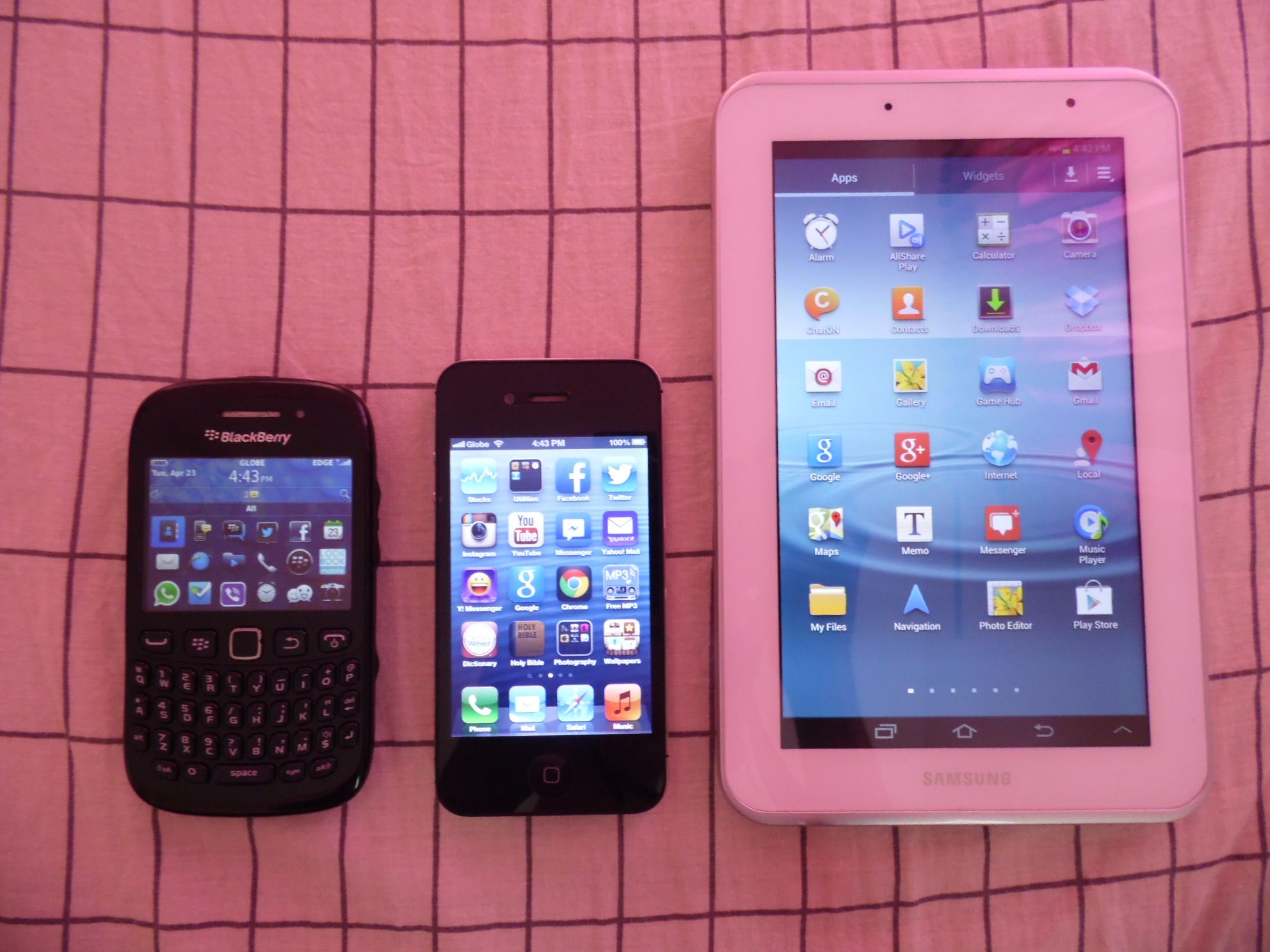 BlackBerry 9220, iPhone 4s & Samsung Galaxy Tab 2 7.0