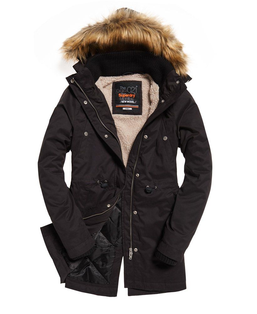 New Model Microfibre Parka Jacket | Black parka jacket