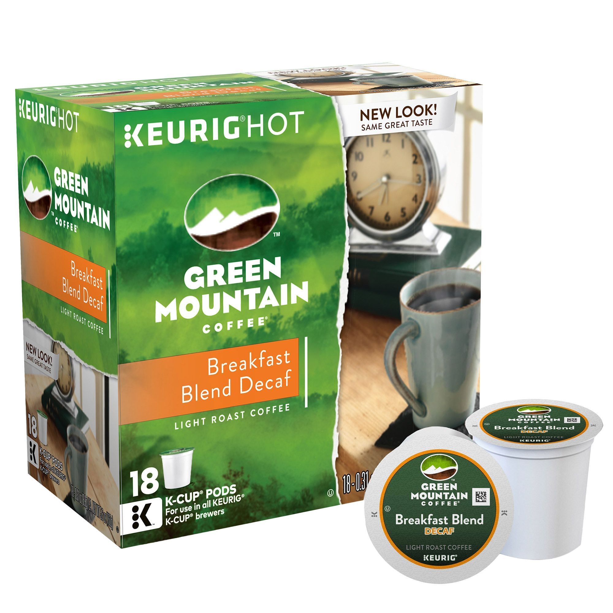 Green mountain coffee decaf breakfast blend 180 kcup pods