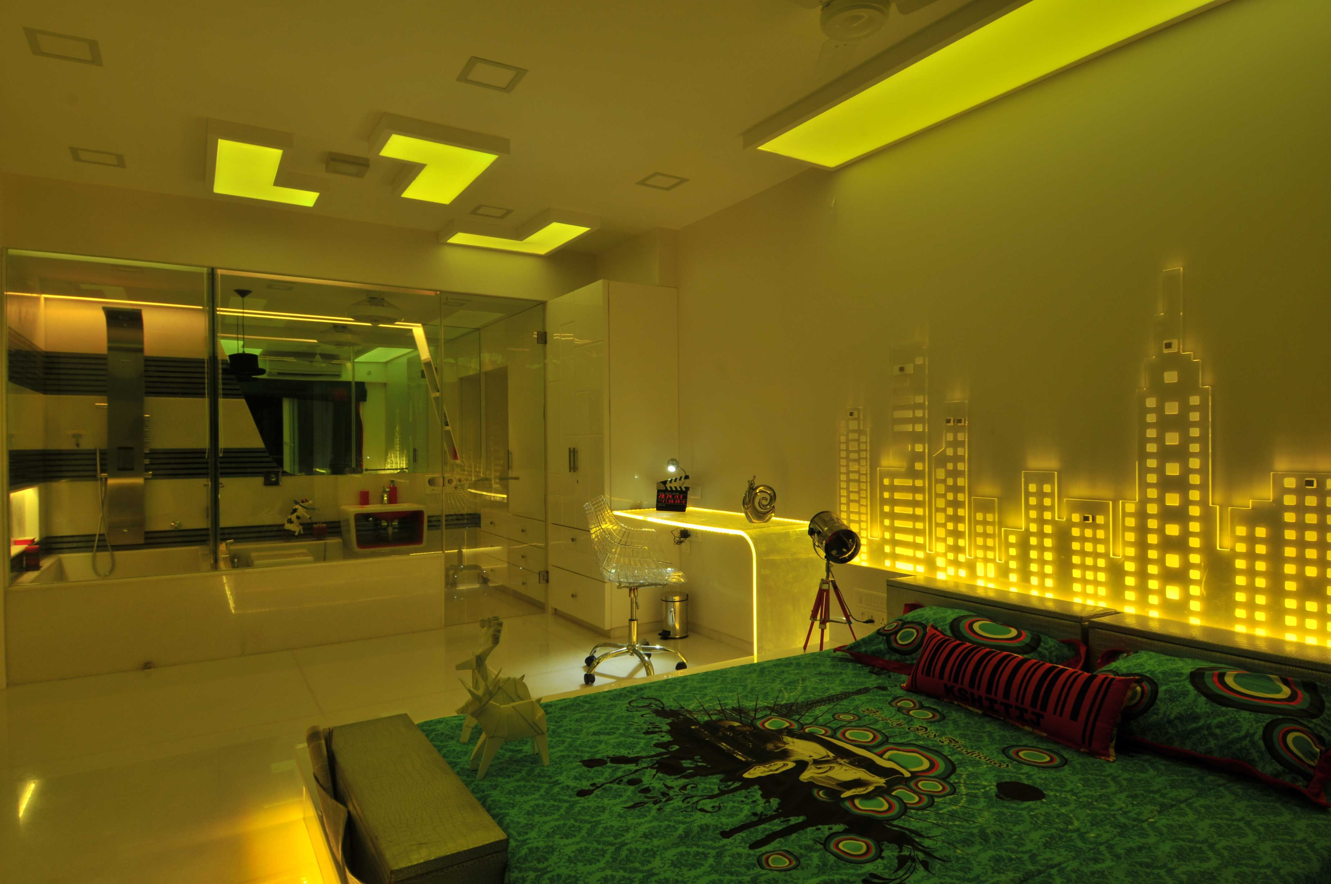 luxury bedroom with neon light, design by Architect: Sonali Shah, Mumbai, India.