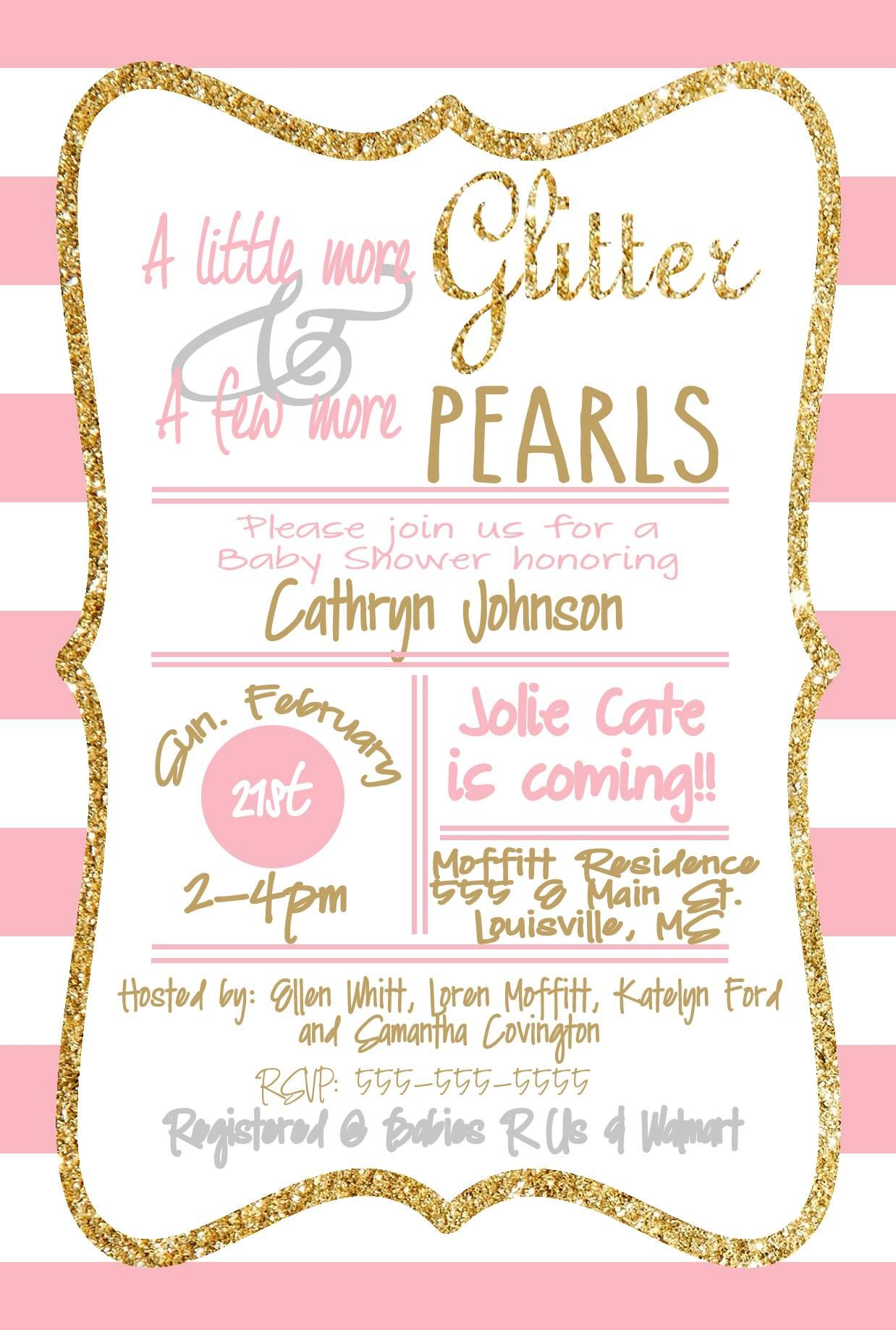 Baby Girl Shower Invitation! Loren\'s Layouts. Glitter and Pearls ...