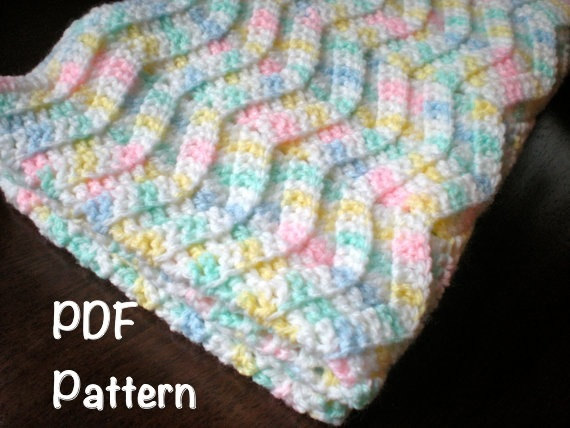 Pattern Chevron Baby Afghan Shower Gift Carseat Size Rippled