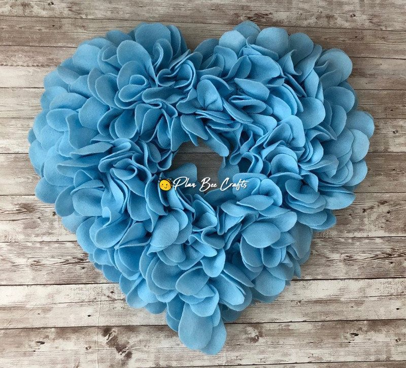 Baby Blue Heart Shaped Felt Wreath 19.5