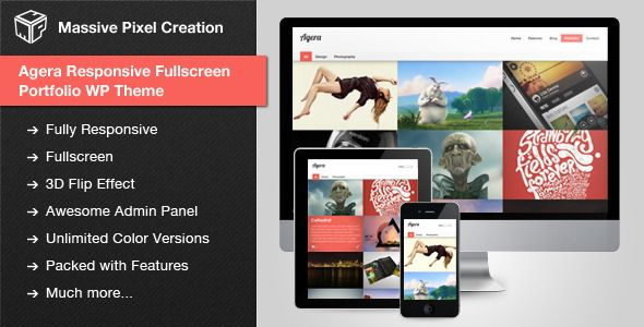 Agera Responsive Fullscreen Portfolio WP Theme | WordPress Themes ...