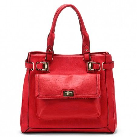 dfe020e8ad07 Red Collection: Structured tote with a snap top closure, gold-toned  hardware, piping, turn-lock front pocket and snap closures at side to  create more room.