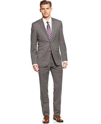 Perry Ellis Portfolio Suit, Grey Check Slim Fit - Suits & Suit Separates - Men - Macy's