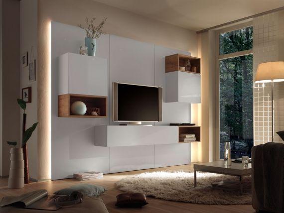 CASINO III Wohnwand weiss   Eiche natur DETAIL_IMAGE Wohnzimmer - wohnzimmer wohnwand weis
