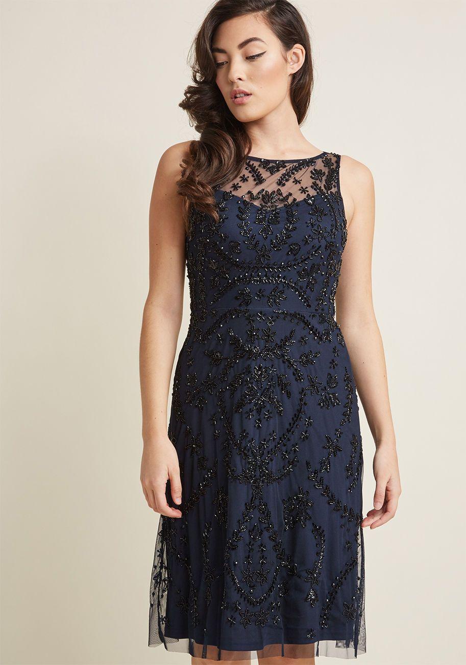 Adrianna Papell Beaded A Line Dress