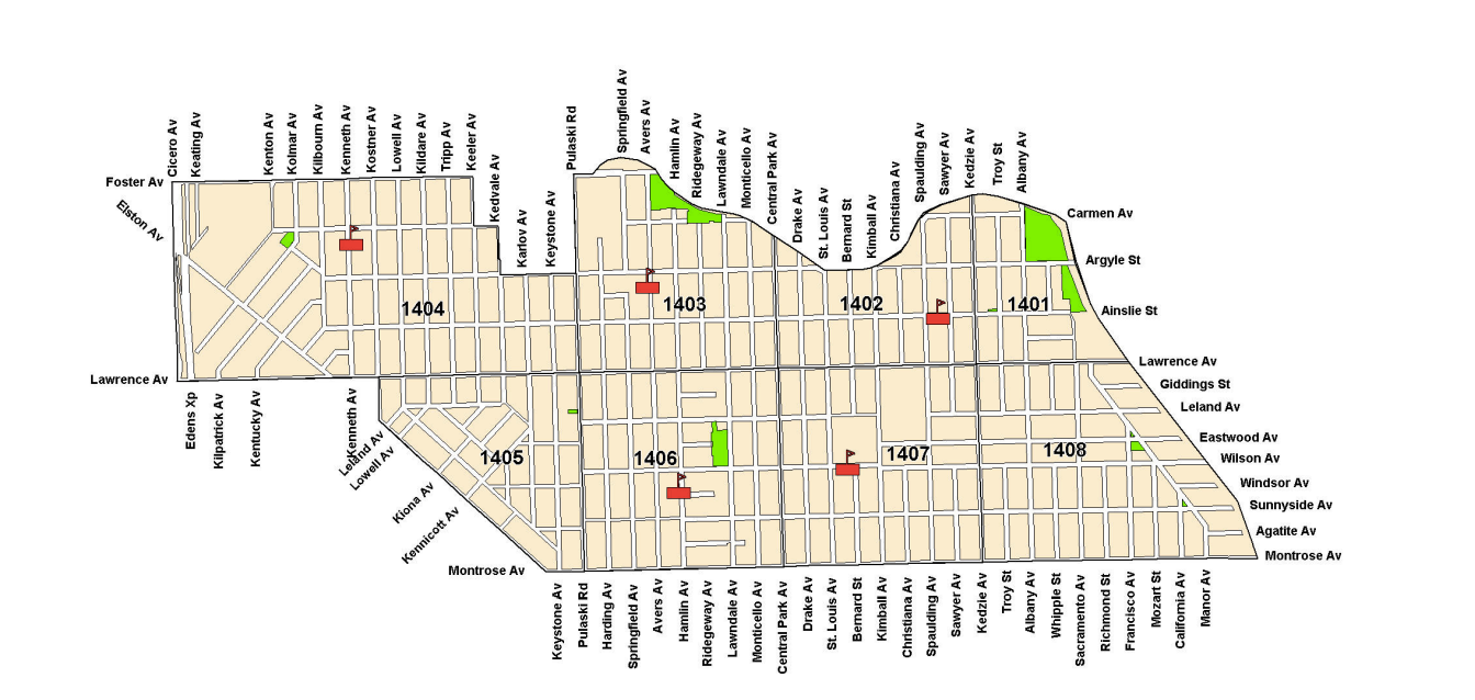 A Map Of The Albany Park Neighborhood Includes Streets The Green