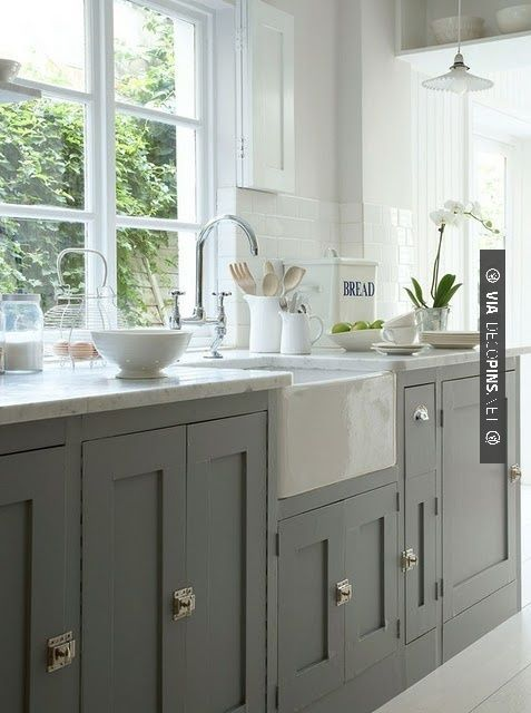 Best Amazing Grey Kitchen Cabinets With White Farm Sink Home 640 x 480