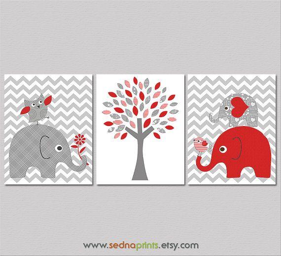 Red And Grey Elephant Nursery Art Print Set Baby Room Decor Zig Zag Chevron Tree Owl Love