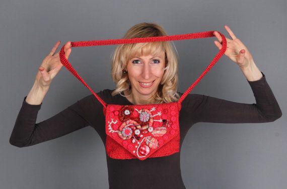 Crochet red bag Handmade bag  Tote bag Hand made by ArtSilkLana