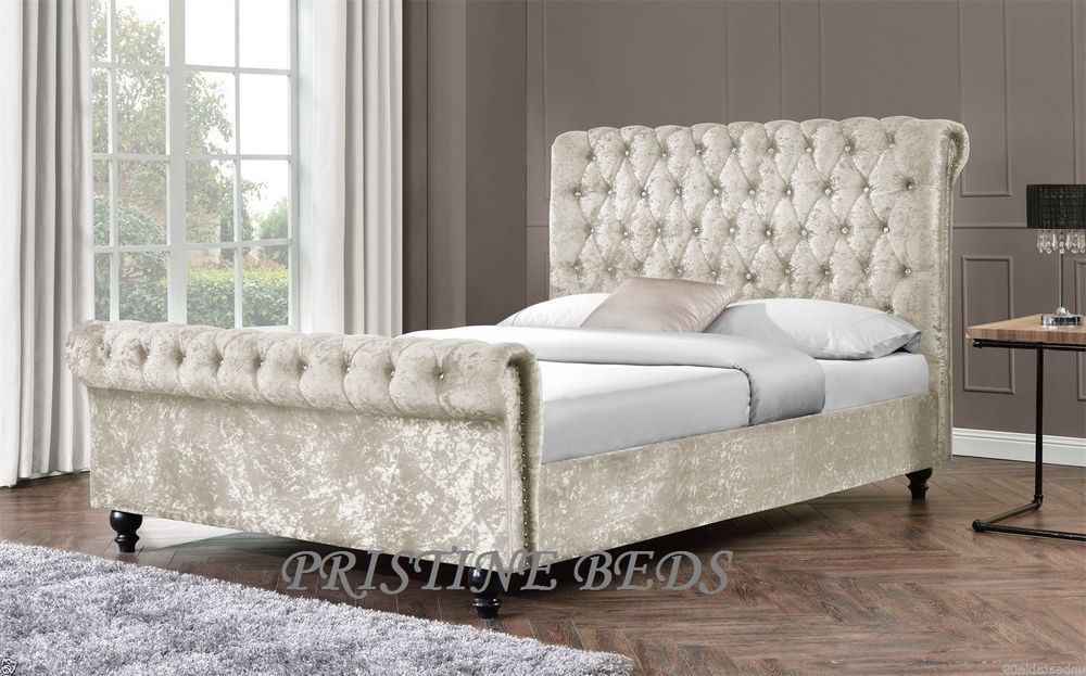 Crushed Velvet Chesterfield Sleigh Bed Frame and Mattress