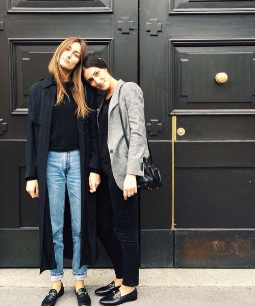 The Tordini sisters...double take Gucci loafers.