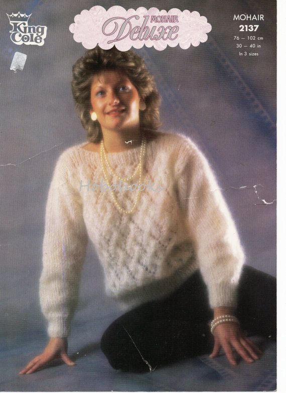 womens mohair sweater knitting pattern PDF chunky ladies mohair ...